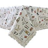 Functionaryb Coton Nappe en Lin couvertures de Bureau rectangulaires avec Nappe de Bande dessinée de Bord de Lacet imprimé pour dîner