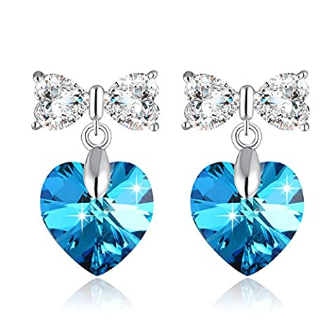 Boucle Doreille Femme Argent Doux Arc et Coeur Boucles d'oreilles avec Swarovski Cristal Bleu Violet, Insolite Cadeau Anniversaire Femme, Idée Cadeau