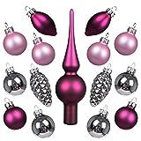 Art Beauty Weihnachtskugeln Mini Christbaumschmuck Glas 3cm Weihnachtsbaum Ornamente Ball mit Topper 15 Stück Tisch Herzstück Dekorationen für Hochzeitsfeier Bankett (Silber Pink und Fuchsia)
