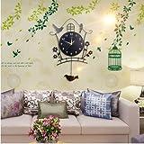 Y-Hui Mute Art Deco Tisch Wand Tisch Wohnzimmer Nachtlicht Wanduhr Rocking Bird Wanduhr Quarzuhr, 20 Zoll, Duo Jan 17 neue ordentliche (Im Strukturbaum Wand Aufkleber