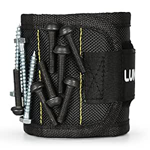 Lunvon Bracelet Magnétique, Magnet Arm Band, 15 puissants aimants forts pour les vis de maintien Clous, morceaux, attaches, rondelles, boulons - Best Tool Cadeau pour Bricoleur Handyman, Noir
