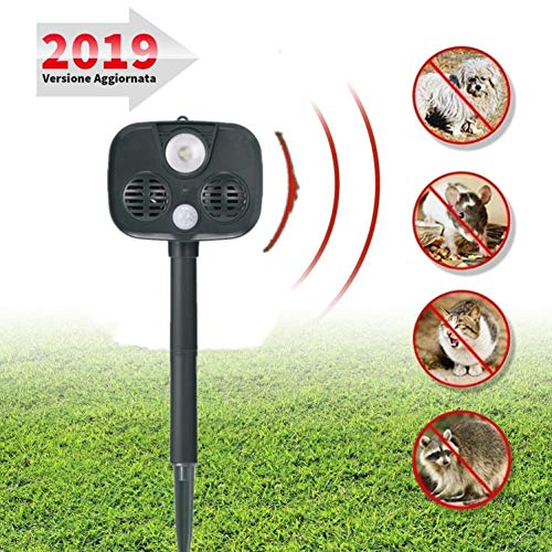 Bonheur repellente ad ultrasuoni per cani e gatti-versione aggiornata 2019 con alimentazione ad energia solare, impermeabilità e sensore di movimento-contro cani, gatti, volpi, scoiattoli e ratti