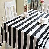 Joliann Tischdecke Mediterranen Stil Schwarz und Weiß Gestreiften Polyester und Baumwolle Mischung Café Rechteckige Tischdecke Kaffee Tischdecke Abdeckung Handtuch, 140 * 280Cm