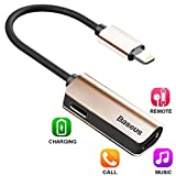 iPhone 8 / 7 Plus Adapter,Baseus Dual Lightning Headphone Audio & Charge & Call Adapter Splitter for iPhone X / iPhone 7 /8 Plus / iPad / iPod Support for iOS 10 ~ iOS 11 and Later (L37 - Blush gold)