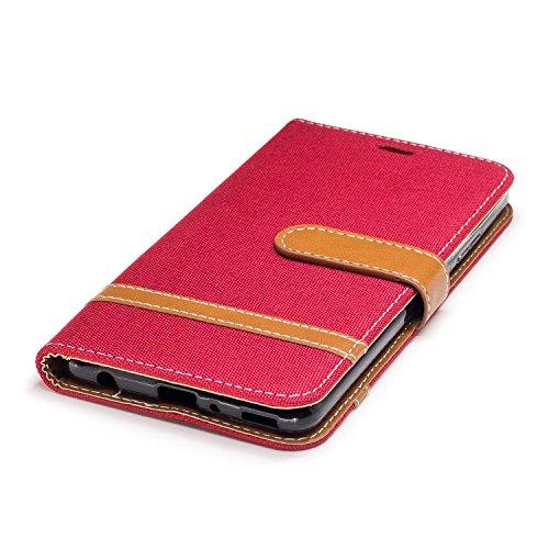 Custodia per Huawei P10 Plus, ISAKEN Flip Cover per Huawei P10 Plus con Strap, Elegante Bookstyle Contrasto Collare PU Pelle Case Cover Protettiva Flip Portafoglio Custodia Protezione Caso con Support Marrone+rossa