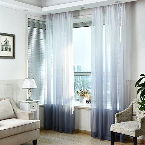 Lembeauty 2pannelli colorati gradiente finestra screening tenda drappo floreale tulle voile per camera da letto bagno soggiorno, 99,1x 269,2cm/pannello gray