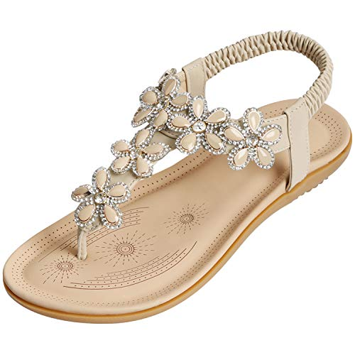 SANMIO Damen Sommer Flach Sandalen, Frauen Bohemian Strass Sandals Sommerschuhe PU Leder Elastischen Strand Schuhe Zehentrenner (40 EU, Beige-A)