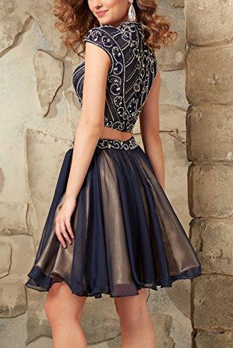 Bridal_Mall -  Vestito  - linea ad a - Maniche corte  - Donna blu navy