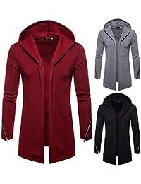 Roiper Hommes à Capuchon Solide Trench-Coat Veste Cardigan à Manches Longues  Outwear Blouse- c6c9eac87c6
