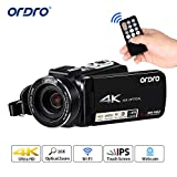 Videocamera 4K, Videocamera/Videocamera ORDRO 4K Ultra HD con 24 Megapixel, Opzione 10x. Zoom, Videocamera Full HD, Videocamera Digitale Wi-Fi 3.1 '' IP con Telecomando