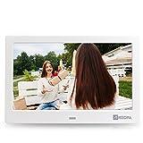 Arzopa 10 Zoll HD Widescreen Digitaler Bilderrahmen Hoch Auflösender 16:9 Fotorahmen Player MP3 MP4 Video Wiedergabe Wecker Kalender mit Fernbedienung Weihnachtsgeschenk (Weiß)