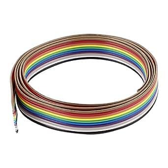 sourcingmap® 1m 1m 10 Broches Conducteur IDC Plat Câble Ruban 1.27mm Pour Arduino DIY