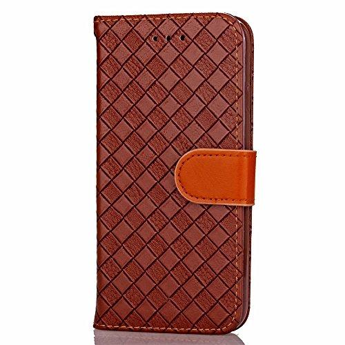 iPhone Case Cover Rasterfeld-spinnender Muster-Kasten PU-lederner Fall mit Karten-Schlitz-Foto-Rahmen-Schlag-Standplatz-Fall-Abdeckung für IPhone 6S ( Color : Brown , Size : IPhone 6 ) Brown