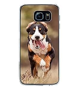 Fiobs Designer Back Case Cover for Samsung Galaxy S6 Edge+ :: Samsung Galaxy S6 Edge Plus :: Samsung Galaxy S6 Edge+ G928G :: Samsung Galaxy S6 Edge+ G928F G928T G928A G928I (Black Dog Kutta kala Friend)