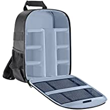 Followsun 34cm*26.5cm*12.5cm Compact Waterproof Anti-shock Camera Bag Photography Backpack with Inner Padding for SLR DSLR Mirrorless Cameras and Lenses, Flash Light, Radio Triggers (Gris)