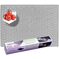 BasicForm Alfombrilla Escurreplatos Silicona para Encimera Cocina XXL 56.5x43.2x0.35cm (Gris