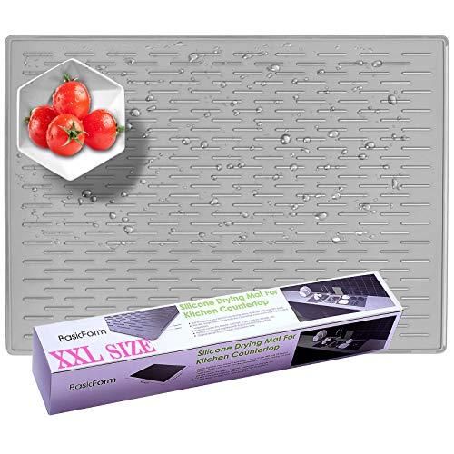 BasicForm XXL Tappetino Scolapiatti Silicone per Ripiano Cucina 56,5x43,2x0,35 cm (Grigio)