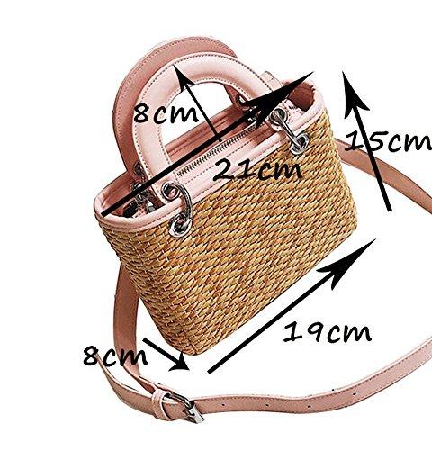 YOUJIA Damen Strandtaschen Stroh Shopper Schultertaschen Handtaschen Shopper #4 Braun