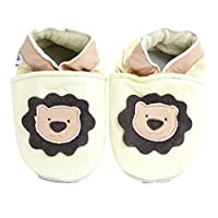 Soft Leather Baby Shoes for Boys and Girls by Shoozies - Suede Soles - Cuddly Lion