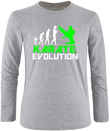EZYshirt® Karate Evolution Herren Longsleeve Grau/Weiss/Neongr