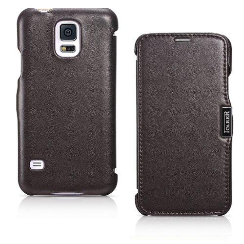 Original iCareR® LuXus Side Open Echtleder Tasche für Samsung S5 Handytasche Schutzhülle Cover Case Braun