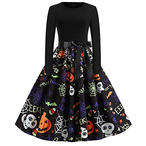 BIKETAFUWY Damen Weihnachtskleider, Halloween Frauen Geschenk Vintage Kürbis-Print Langarm Oansatz Abend Party Swing Kleid Club Festival Karneval Kleid Kostüm Cosplay - Witch Boy Kostüm
