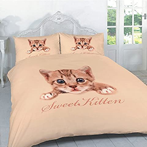 Duvet cover set 3d animal print effect quilt bedding set poly cotton new (cat print,king)