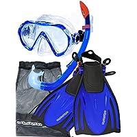 AQUAZON MIAMI Schnorchelset, Schwimmset, Tauchset, Taucherbrille mit anti fog tempered glas, Silkon, Semi Dry Schnorchel, verstellbare Flossen für Kinder