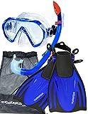 AQUAZON MIAMI set boccaglio, set da nuoto, set per immersioni, occhiali subacquei in vetro temperato antiappannamento, silicone, pinne regolabili per bambini, size:32/37, colour:dark blue