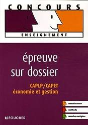 Epreuve sur dossier CAPLP/CAPET Economie et gestion