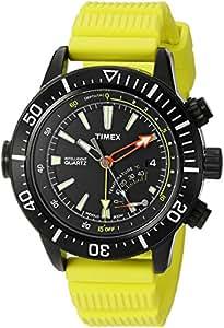 Timex - T2N958D7 - Intelligent - Montre Homme - Quartz Analogique - Cadran Noir - Bracelet Résine Jaune