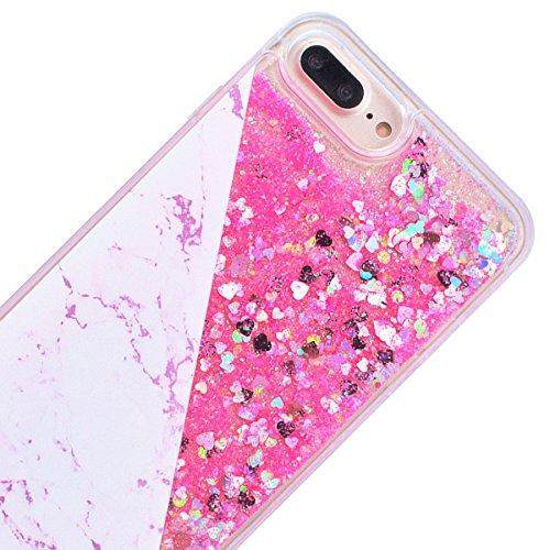 GrandEver iPhone 7 Plus Hülle Hartschale Glitzer Handyhülle Schutz Hardcase Marmor und Flüssig Fließende Sparkly Liebe Muster Rückschale Treibsand Schutzhülle Bmper Klar Dünne Ultra Slim Rückseite Cle Rosa