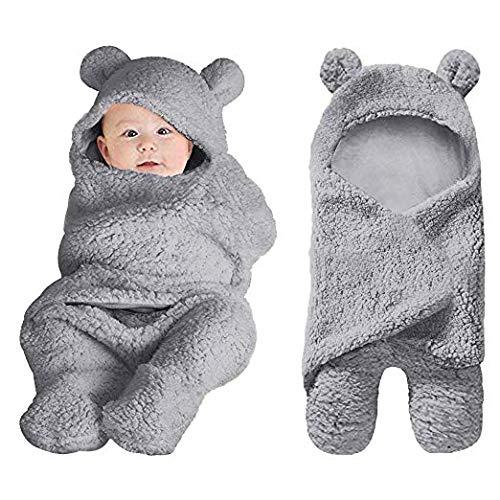 BORITAR Baby Schlafsack Swaddle Neugeborene Kapuze Separate Beine Baby Pucktuch Herbst Winter Mädchen Junge Wickeldecke 0-6 Monate