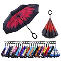 AmaGo Inverted Umbrella - Reverse Double Layer Long Umbrella, C-Shape Handle & Self-Stand to Spare Hands,Carrying Bag for Easy Traveling
