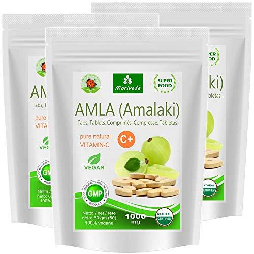 Amla Tabletten 1000mg (60 oder 180 Stk.) Vitaminbombe - 100% Naturprodukt mit Vitamin-C, Chrom, Mineralstoffen, Proteinen und B-Vitaminen. Immunsystem, Antioxidans (3x60 Presslinge) - Freie Energie Formel