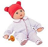 Götz Puppe Muffin Boy – 33 cm Stoff-Babypuppe, ohne Haare, Blaue Schlafaugen, Spielzeug für Mädchen ab 18 Monaten (4-teiliges Set inkl. Schnuller)