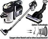 Sichler Haushaltsgeräte Akkusauger: 2in1-Akku-Zyklon-Staubsauger, Aufsatz-Bürste & Aluminium-Rohr, 25,2 V (Akku Zyklon Hand Boden Staubsauger)