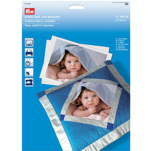 Prym Creative Fabric, Printable ( 1 pack of 5 sheets)