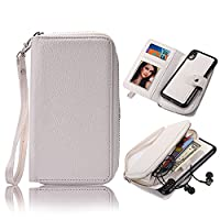 Vandot For iPhone X Case-iPhone 10 Cover [Large Capacity] Detachable Magnetic Zipper Strap PU Leather Wallet [Inner Money Pocket Card Holders] Case Cover Purse For iPhone X / iPhone 10 5.8 inch-White