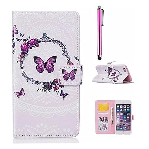 MUTOUREN Coque pour iPhone 7 Plus Cas Magnétique PU Cuir TPU Intérieur de Portefeuille avec Carte de Crédit Fentes Béquille Housse Étui Folio +Stylet pen - Kranz et le papillon pourpre