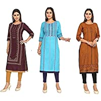 Jeff Co-op Women's Cotton Straight Maternity Kurti with Zipper, Printed Round Neck Feeding Kurta for Pre and Post…