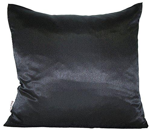 Seiden-satin-bettwäsche (beties Glanz Satin Kissenbezug 80x80 cm anschmiegsam & edel 100% Polyester in 4 beliebten Größen (Schwarz))