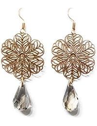 3d68ddd85a12 Pendientes Largos Mandala Plateado o Dorado Bisutería Mujer Elegante con  Cristal Semiprecioso Facetado