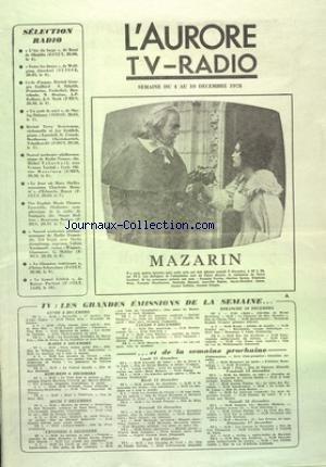 AURORE TV RADIO (L') du 04/12/1978 - SELECTION...