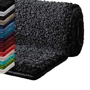casa pura Badematte Hochflor Sky Soft | Weicher, Flauschiger Badezimmerteppich in Shaggy-Optik | Badvorleger rutschfest waschbar | schadstoffgeprüft | 16 Farben in 6 Größen (60x50 cm, dunkelgrau)