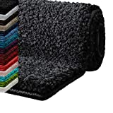Badematte Hochflor Sky Soft | Weicher, flauschiger Badezimmerteppich in Shaggy-Optik | Badvorleger rutschfest waschbar | Öko-Tex 100 zertifiziert | 16 Farben in 6 Größen (rund 95 cm, dunkelgrau)