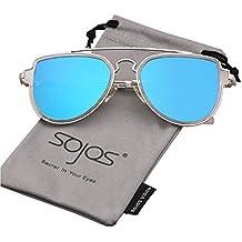 SOJOS Retro Doppelte Metallbrücken Aviator Polarized Linse Sonnenbrille Unisex für Herren Damen SJ1051