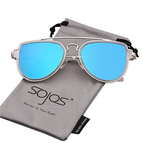 Sojos vogue retrò specchio doppio metalloponte aviatore occhiali da sole unisex per uomo donna sj1051 con argento telaio/blu lente