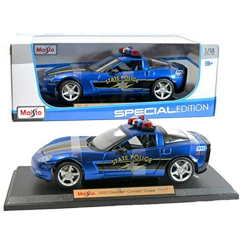 Maisto Year 2015 Special Edition Series 1:18 Scale Die Cast Car Set - Blue Color 2005 State Police Cruiser CHEVROLET CORVETTE COUPE with Display Base (Car Dimension: 9 x 4 x 2-1/2) by Maisto (Scale-2015 18 1 Diecast)
