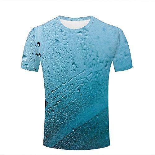 qianyishop 3d Print T Shirts Mist and Window Raindrops Graphics Men Women Couple Fashion Tees B